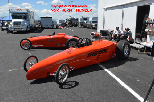two versions of the 'Speed Sport' roadster as seen in the Tucson pits
