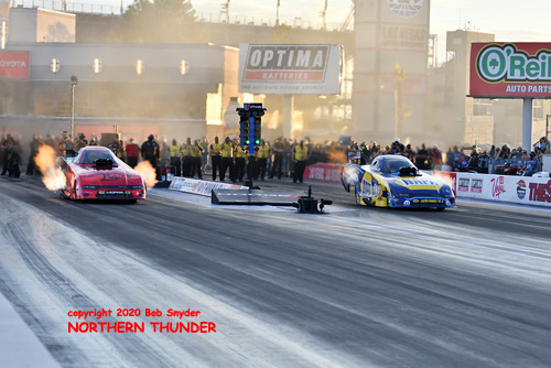(near lane) Matt Hagan vs  (far lane) Ron Capps