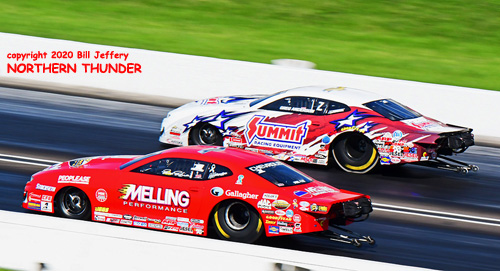(near lane) Erica Enders vs (far lane) Greg Anderson